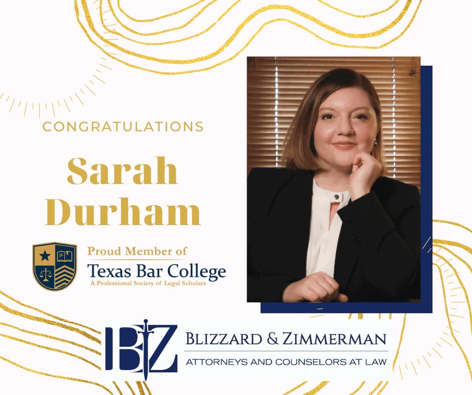 Sarah Durham Texas Bar College